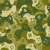 Military texture from gaming joysticks. Army seamless pattern gamepad. Vector Protective camouflage for soldier clothing gamer. Fun illustration Home sofa troops. poster