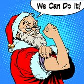 Santa Claus we can do it the power of protest Christmas New year. Fairy tale character in festive costume. Retro style pop art poster