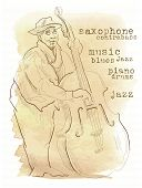 Jazz music inscriptions. Old paper background. Typewriter style. poster