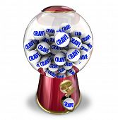 Crave word on gum balls in a candy machine or snack dispenser to illustrate a craving, appetite or hunger for sweets or junk food poster