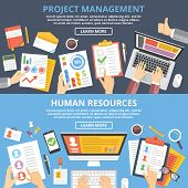 Project management, human resources flat illustration concepts set. Modern flat design concepts for web banners, web sites, printed materials, infographics. Creative vector illustration poster