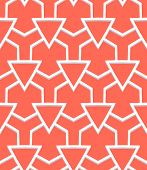 Vector geometric pattern with art deco motifs. Simple vector texture with triangle shapes in vintage 1920s and 1930s style. Decorative retro background in tropical coral red color. poster