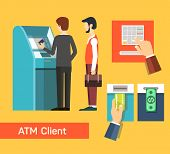 ATM machine money deposit and withdrawal. Payment using credit card. Flat icon set. EPS 10 vector. poster