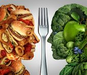 Nutrition decision concept and diet choices dilemma between healthy good fresh fruit and vegetables or greasy cholesterol rich fast food shaped as a human head divided by a fork as a symbol for trying to decide what to eat. poster