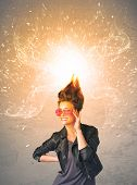 Young woman with energetic exploding red hair concept on background poster