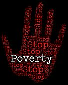 Stop Poverty Representing Warning Sign And Prohibit poster