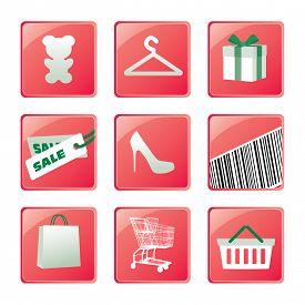Shopping Icons Set Vector Design