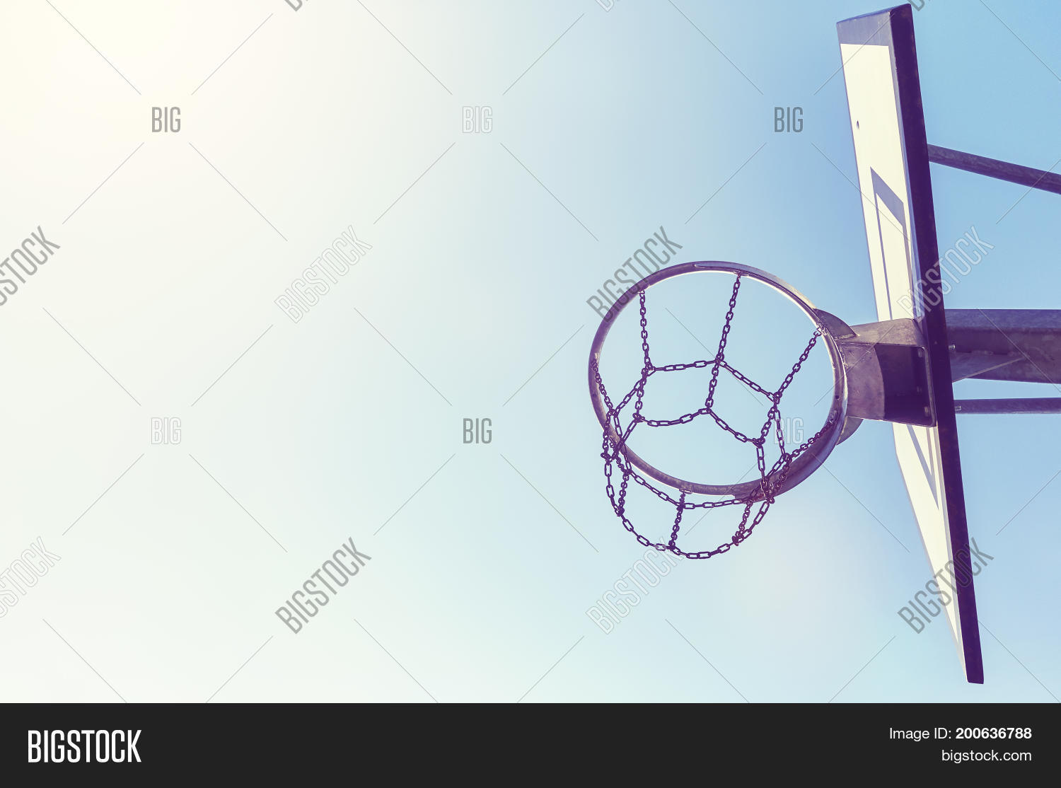 Basketball Hoop Chain Image Photo Free Trial Bigstock Diagram With Net At Sunset