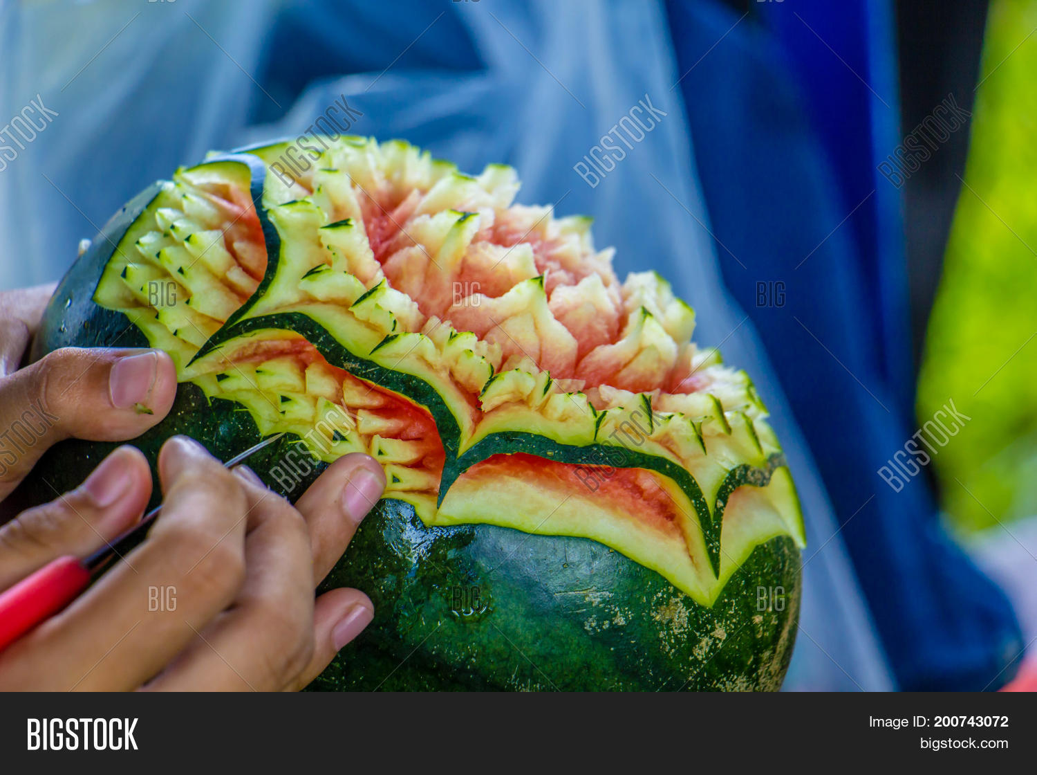 Watermelon carving image photo free trial bigstock