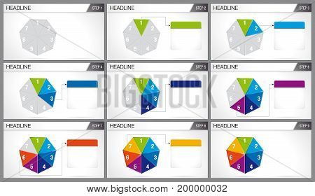 Heptagon shaped pie divided into 7 equal parts are illuminated in sequence on white background. Elements for info graphics, use in presentation. Vector image