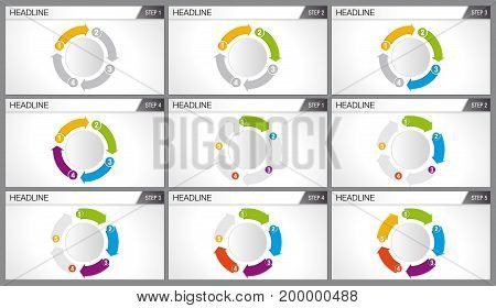 Graphics of 4 and 5 arrows of different colors forming a cycle. Each graph shows step by step how the cycle is completed. Elements for info graphics, use in presentation. Vector image