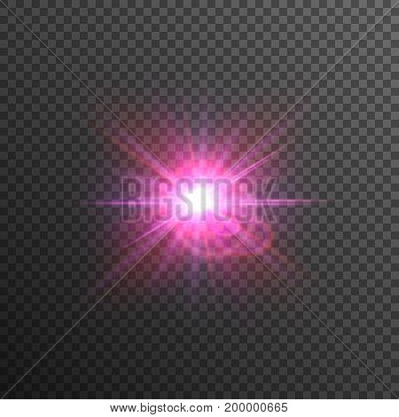 Bright and glowing purple and red star. Lens flare.