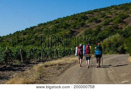 three tourists with large backpacks are on the mountain road