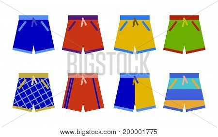swim shorts collection. swimming trunks set icon Flat design Vector Illustration