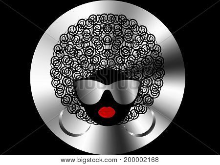 portrait African curly Women , dark skin female face with hair afro and metal glasses on isolated or black background