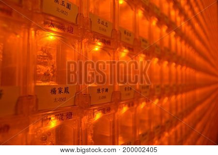 Chinese-buddhist Amulets In A Temple