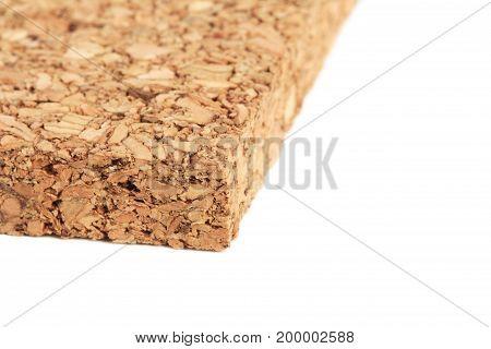 Cork Tile isolated on white background Macro