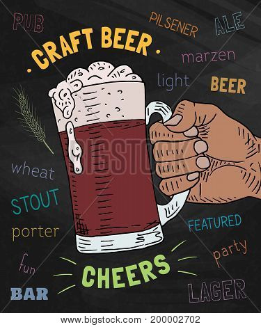 Beautiful poster of the glass of craft beer on the chalkboard background. Cheers