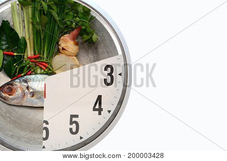 time to cook,tuna with ingredient in pot on white background