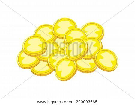Pirate gold coins icon. Children drawing of pirate concept vector illustration isolated on white background.