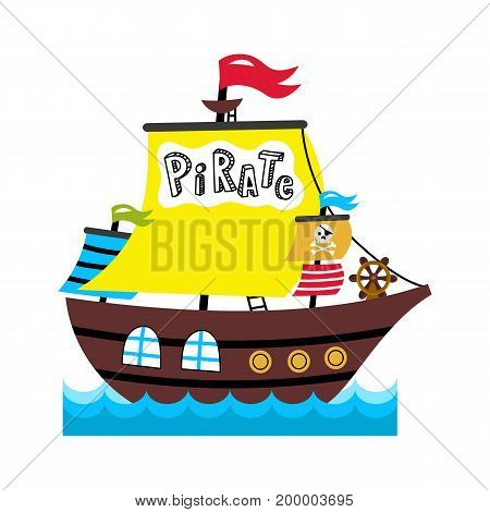 Pirate sailing vessel icon. Children drawing of pirate concept vector illustration isolated on white background.