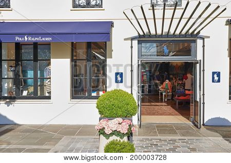 PARIS FRANCE - MAY 10 2017 : Polo Ralph Lauren boutique in La Vallee Village. RL is an American corporation. They are known for the clothing marketing and distribution of different products.