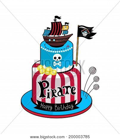 Pirate party cake icon. Children drawing of pirate concept vector illustration isolated on white background.