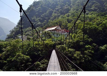 A Wooden Bridge Connecting Two Gorges Near Chan Guang Temple, Taiwan