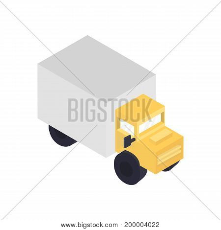 Modern freight truck isometric icon. Commercial freight truck, vehicle for cargo transportation, trucking and delivery service vector illustration