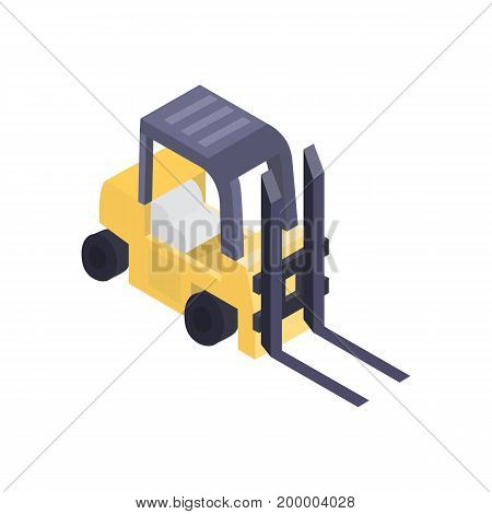 Warehouse forklift isometric icon. Modern commercial truck side view, vehicle for cargo loading, delivery service vector illustration