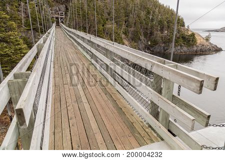 La Manche suspension bridge in La Manche Provincial Park Newfoundland Canada.