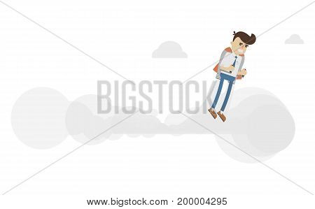 Startup business project icon with flying businessman. Idea generation and business realization vector illustration in flat design.