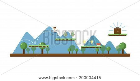 Business concept with running businessman. Business project and realization vector illustration in flat design.