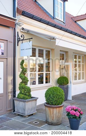 PARIS FRANCE - MAY 10 2017 : Marc Jacobs boutique in La Vallee Village. The Marc Jacobs brand is the brainchild of renowned designer and the brand's namesake Marc Jacobs