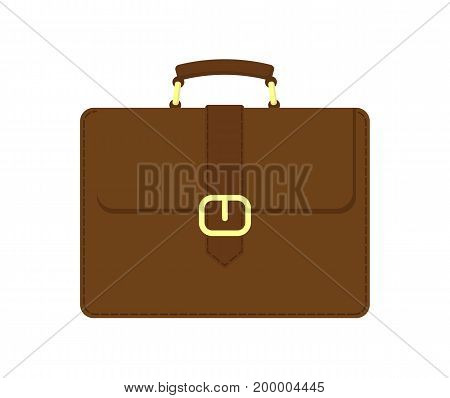 Brown business suitcase vector icon. Leather briefcase vector illustration in flat design.