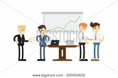 Business conference concept with smiling men icon. Business teamwork and project realization vector illustration in flat design.