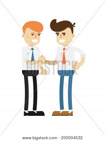 Business meeting concept with happy men icon. Business teamwork and project realization vector illustration in flat design.