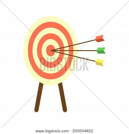 Archery target with arrows icon. Creative business concept vector illustration in flat design.