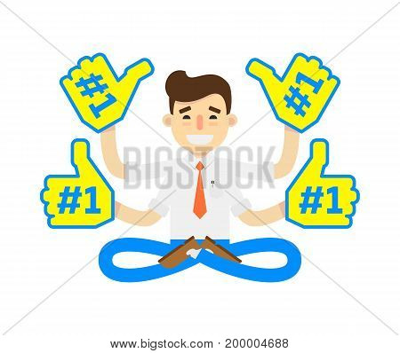 Businessman in lotus pose icon. Idea generation and business realization vector illustration in flat design.