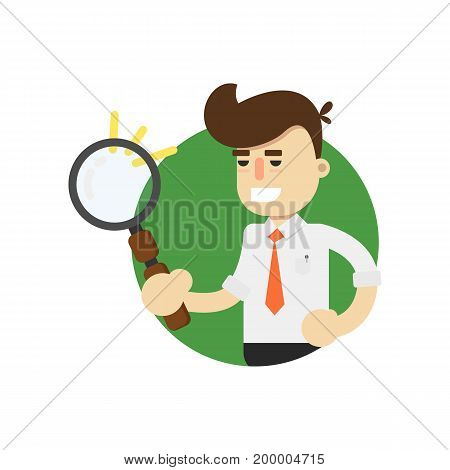 Businessman with magnifying glass isolated icon. Business project and realization vector illustration in flat design.