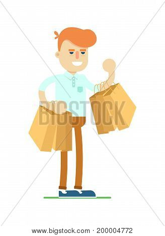 Smiling man with shopping bag icon. Shopping in supermarket, retail vector illustration in flat design.