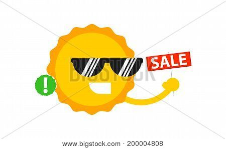 Sale sign with smiling sun icon. Shopping in supermarket, retail vector illustration in flat design.