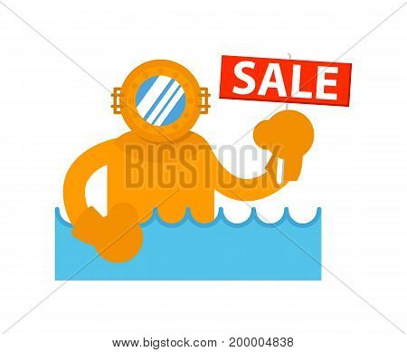 Sale sign with diver in sea icon. Shopping in supermarket, retail vector illustration in flat design.