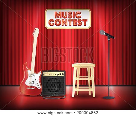 music contest with microphone guitar on stage