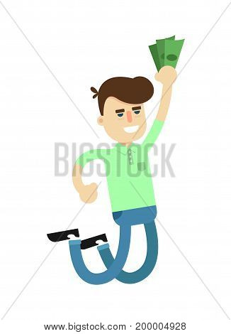 Happy jumping man with money icon. Shopping in supermarket, retail vector illustration in flat design.