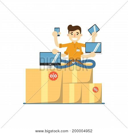 Seller man with electronic gadgets icon. Shopping in supermarket, retail vector illustration in flat design.