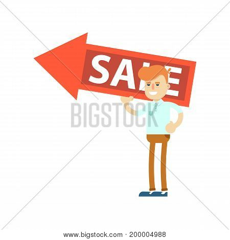 Seller man with big sale sign icon. Shopping in supermarket, retail vector illustration in flat design.