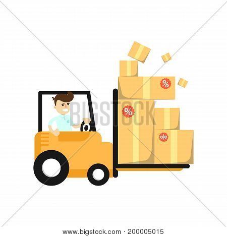 Smiling seller man in forklift truck icon. Shopping in supermarket, retail vector illustration in flat design.