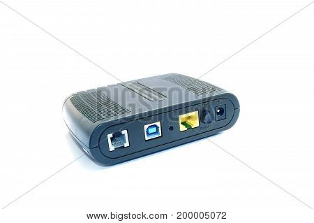 old router on white background ,internet router