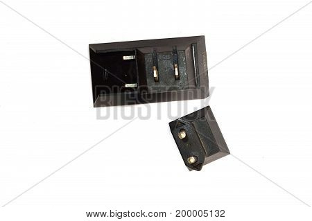 Black Plug Head Adapter  On White Background